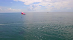 Aerial video of parasailers in Miami Beach Stock Footage