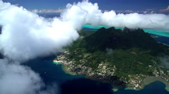 Aerial view of Bora Bora Island and Mt Pahia South Pacific Ocean Stock Footage