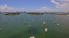 Aerial video Sail boats in Miami Stock Footage