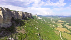 Flying over top of the beautiful mountain plateau - stock footage