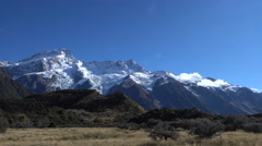 Snowcapped Mountain at Hooker Valley track, at Aoraki Mount Cook National Park,  Stock Footage