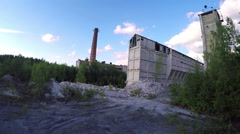 Old abandoned marbled calcareous factory - stock footage