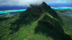 Aerial view of Mt Otemanu Bora Bora Island South Pacific Ocean Stock Footage