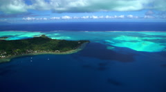 Aerial view of Bora Bora Island South Pacific Ocean a French Polynesia Stock Footage