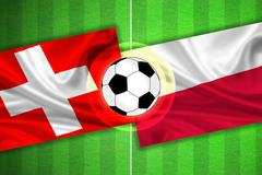 Switzerland - Poland - Soccer field with ball - stock illustration