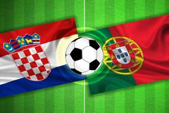 Croatia - Portugal - Soccer field with ball - stock illustration