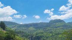 Mountain landscape with tea plantation, Sri Lanka Stock Footage
