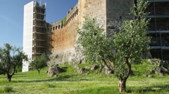 Fortress in Montalcino, Tuscany town of wine - stock footage