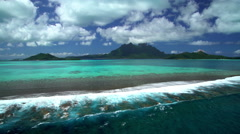 Aerial view of Mt Otemanu Mount Pahia Bora Bora Island South Pacific Stock Footage