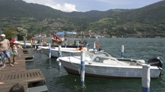 Motorboat Pier. Lake Iseo, Italy Stock Footage