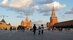 MOSCOW, RUSSIA - People walk on Red Square in the evening Stock Footage