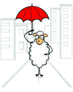 Funny young sheep - stock illustration