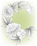 Frame card with flowers - stock illustration