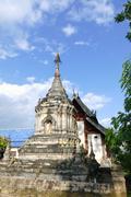 Ancient historical buddhist pagoda monument and temple church Stock Photos