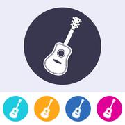Vector acoustic guitar icon - stock illustration