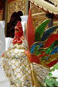brilliant colorful chicken figurine - stock photo