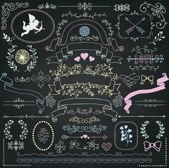 Vector Chalk Drawing Rustic Floral Design Elements - stock illustration