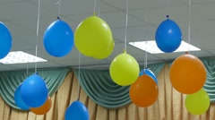 Hanging balloons from ceiling celebration birthday slow motion video Arkistovideo
