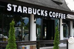 new Starbucks coffee shop in thailand architecture style - stock photo