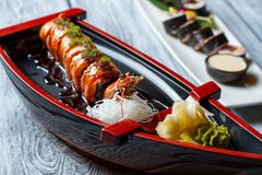 Sushi boat with wasabi. Stock Photos