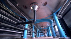 Tanks, storages at food and drinks production line Stock Footage