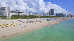Tourists in the waters of Miami Beach Stock Footage