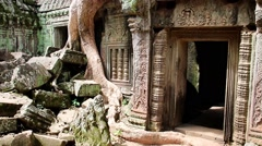 Khmer temple Ta Prohm, Angkor complex, Siem Reap Stock Footage