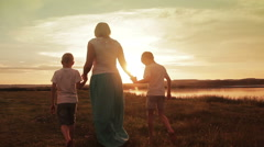 Family Walking Beach Sunset Travel Holiday - stock footage