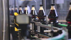 Conveyor for the production of carbonated pop a nd soda fresh drink Stock Footage