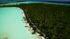 Aerial view Tupai Heart Island a coconut plantation Island in the South Pacific Stock Footage