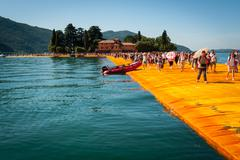 lake Iseo Floating Piers near Isola di San Paolo - stock photo
