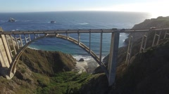 4K Iconic Bixby Bridge Aerial drone view in Big Sur, California Stock Footage