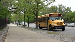 Departure of a School Bus. Brooklyn, New York, USA Stock Footage