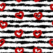 Red hearts, black stripes. Smear brush, white background. Seamless pattern Stock Illustration