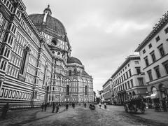 Italy Florence cathedral in the rain - stock photo