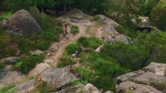 Woman hiking with backpack on the trail of a cliff in 4k UHD video. Stock Footage