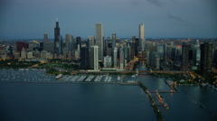Aerial sunrise view of Chicago Illinois cityscape and marina America Stock Footage