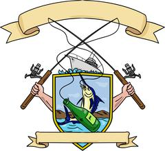 Fishing Rod Reel Blue Marlin Fish Beer Bottle Coat of Arms Drawing Stock Illustration