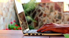 Hands Typing On A Laptop Keyboard Close Up Stock Footage