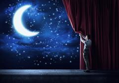 Night sky behind curtain Kuvituskuvat
