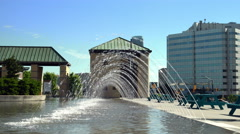 City Hall's Laminar Leap Jet Fountain - stock footage