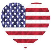 Poly art american flag in heart shape on white background Stock Illustration
