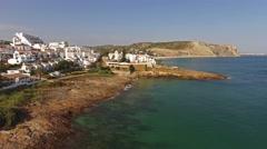 Lagos, Praia da Luz - Algarve, south of Portugal aerial view Stock Footage