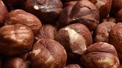 Shelled hazlenuts - stock footage