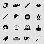 Vector black bakery icon set - stock illustration