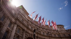 Time lapse of Admiralty Arch with White Ensign Flags - stock footage