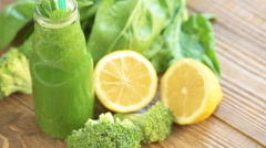 Spinach smoothie, dieting and detox concept Stock Footage
