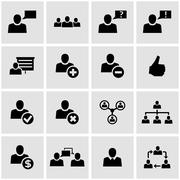 Vector black office people icon set - stock illustration