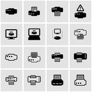 Vector black printer icon set Stock Illustration