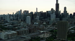 Aerial sunrise view of buildings and urban areas Chicago USA Stock Footage